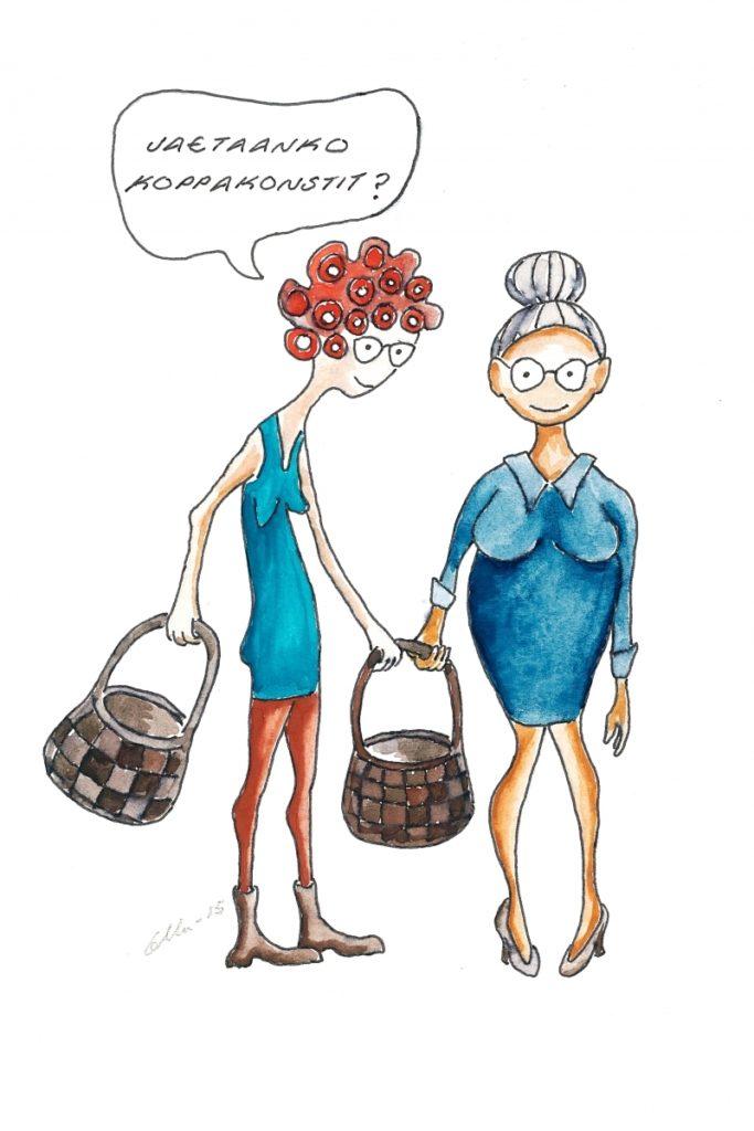 """Kuvituskuvassa kaksi vanhempaa rouvaa pärekorit kädessä, joista toinen sanoo: """"jaetaanko koppakonstit""""."""