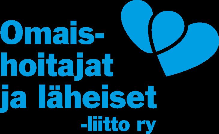 Omaishoitajat ja äheiset -liitto ry:n logo sinisellä teksillä.