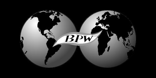 BPW:n logo, jossa kaksi mustavalkoista maapalloa, joiden edessä lukee mustalla BPW.