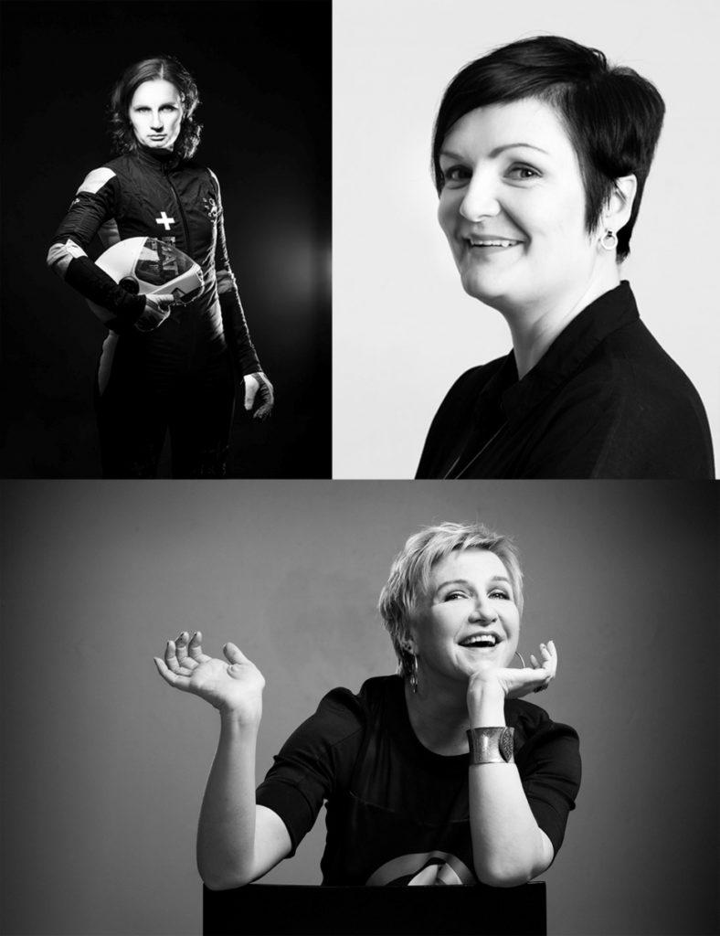 Kolme mustavalkoista kuvaa naishenkilöistä.