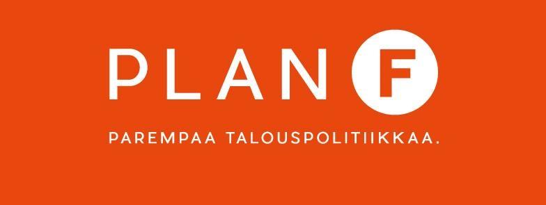 Plan F -logo valkoisella teksillä oranssilla taustalla.