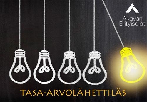 Tasa-arvolähettiläs-logo, jossa rivissä hehkulamppuja, joista oikeanpuoleisin palaa ja heilahtaa oikealle.