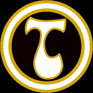 Tarmon logo, jossa on vakoinen ja beigellä rajattu T-kirjain mustalla ympyränmuotoisella pohjalla.