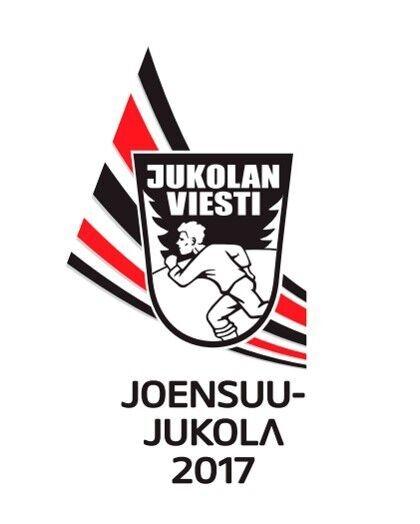 Jukolan viestin logo, jossa ihminen juoksee vaakunan sisällä, taustalla punaisia ja sinisiä raitoja.