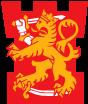 Pääesikunnan logo, jossa on leijona punaisella pohjalla joka seisoo käyrän sapelin päällä.