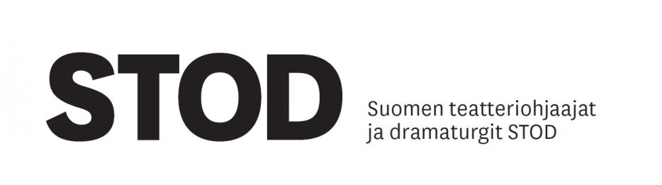 Stod-logo, jossa lukee STOD - Suomen teatteriohjaajat ja dramaturgit mustalla valkoisella pohjalla.