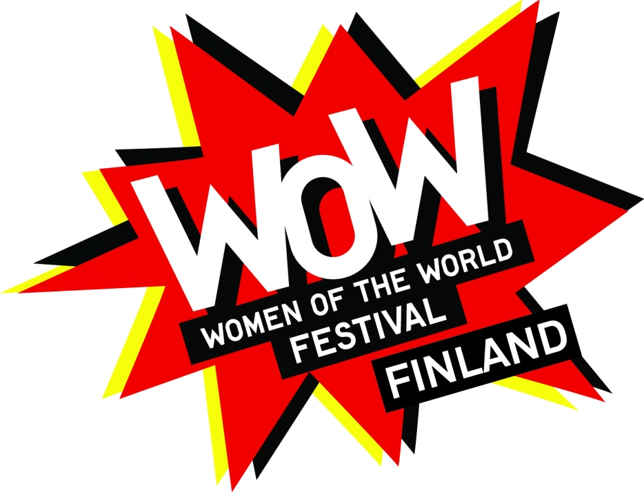Wow-Finlandin logo, jossa teksti Women of the world festival Finland punaisen tähtikuvion päällä.