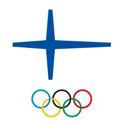 Olympiakomitean logo, jossa olympiarenkaat Suomen lipun alla.
